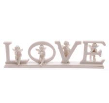 White Love Cherubs Baby Angels & Letters on Base Ceramic Resin Gift Ornament