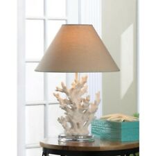 Coral sculpture White Ivory Nautical Table Lamp with Shade