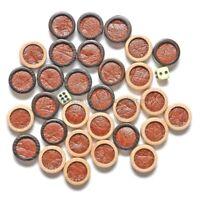 """30 Handarbeit HOLZ Backgammon Steine Weiße und Dunkle Antik + 2 Würfel 27mm 1,1"""""""