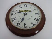 Vintage Wall Clock Stanley Tools Round Wooden Workshop Hardware Junghans Quartz