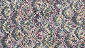 "Floral Tapestry Chevrons Cranberry & Green Size 54"" X 5.5 yards"
