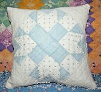 Throw Pillow From A Vintage 1900s Densely Hand Quilted Patchwork Farmhouse Quilt