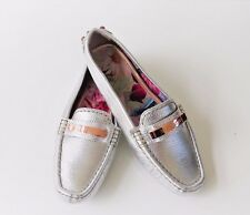 Ted Baker Ladies Silver Leather Loafers/Moccasins RRP£109.00
