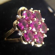 14k Solid Yellow Gold Spinal Gemstone Flower Ring Genuine Diamonds TJC Size 7.5