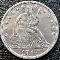 1847 Seated Liberty Half Dollar 50c Rare Date High Grade UNC #13480