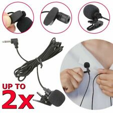 2x Lavalier Microphone 3.5mm Lapel Clip-on Mic for iPhone Android Smartphones PC