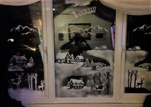 Window Snow Scene Stencils - Large (full window design)