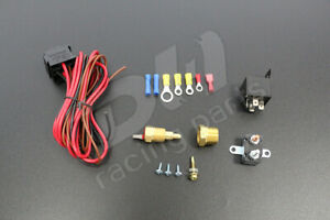 For Car185-200 Degree Engine Cooling Fan Thermostat Temp Switch Sensor Relay Kit