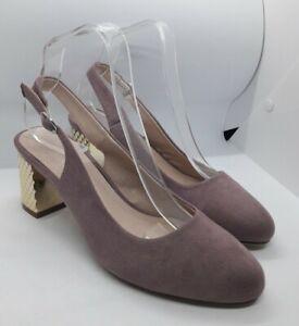 Anna Field Suede Look Slingback Shoes Size 5 UK 38 EU Textured Block Heel