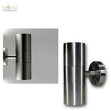 Lámpara de pared LED ACERO INOX 2 Luces Blanco Frío Iluminación externa