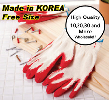 Red Latex Rubber Glove Palm Coated Work Safety Made In Korea
