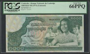 Cambodia 1000 Riels ND(1973) P17 Uncirculated Grade 66