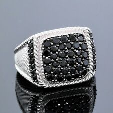 Judith Ripka Jewelry 925 Sterling Silver Pave Signet Black Spinel Ring Size 7