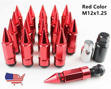 M12*1.25 Wheel Racing Lug Nuts Steel+Aluminum with Extended Spike Tuner Red 85mm