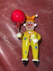 "Miniature 2 1/2"" Art Glass Clown with Red Balloon Figurine"