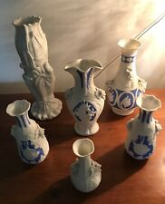 Beautiful 19th Century Bisque Parian Ware Vases. Six Vases Sold As A Lot.