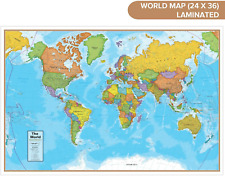 """Waypoint Geographic Blue Ocean World Wall Map (24"""" x 36"""") - Current WG10"""