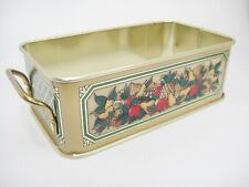 Fruit Decorated Handled Tin Carrier Made England Holds 1-1/2 Quart Baking Dish
