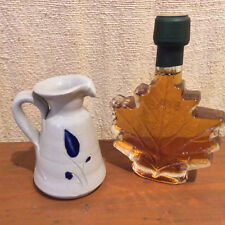 Salt Glazed Cobalt Blue Stoneware Creamer Williamsburg Pottery & VT Maple Syrup