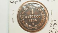 Italie Papal States / Vatican : 1 Baiocco 1850 R