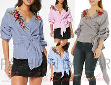 Womens Gingham Check Embroidered Tie Knot Ruched Wrap Shirt Casual Summer Top BN