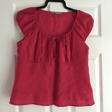 TU ✿ LADIES 100% Linen Coral Cap Sleeved Summer Top ✿ Size 14 Holidays Smart.