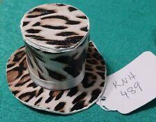 Cream Leopard Print Top Hat w White Satin Ribbon Band Ken Barbie Doll Knh489
