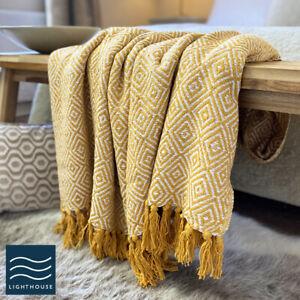 Luxury Eco Friendly Mustard Yellow Abstract Diamond Sofa Throw Blanket Large