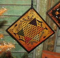 Prim Antique Vtg Style Spooky Halloween Chines Checkers Game Board Scary Sign