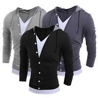 Herren  V-Ausschnitt Langarm   Hooded Casual T-Shirt Tops T Shirts M-2XL