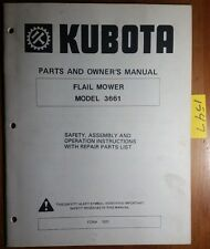Kubota 3661 Flail Mower Owner's Operator's & Parts Manual Form 1051