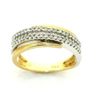 Ladies/womens 9ct yellow+white gold crossover ring set with diamonds, UK size N