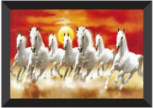 7 Running Horses Vastu UV Coated Home Decorative Framed Painting 14*20 inches