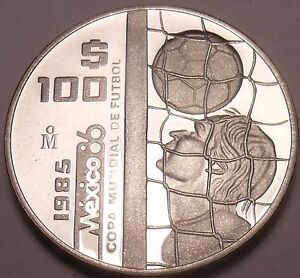 Rare Silver Proof Mexico 1985 100 Pesos~World Cup Soccer Games~9,006 Minted~Fr/S