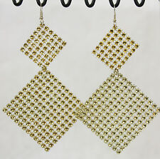 "Dangle Earrings Super Big Huge Golden Square Sparkle Mesh 5"" Long Lightweight"