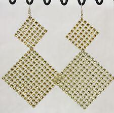 "Super big huge dangle earrings golden square sparkle mesh 5"" long lightweight"