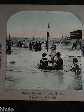 STA347 colorisé colorized Scène de plage NY STEREO (albumen) Photo Stereoview