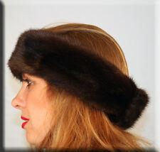 New Dark Brown Mink Fur Headband - Efurs4less