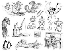 Unmounted Stamp Sheet, Penguin, Cats, Dog, Cow, Humorous Animals, Animal Stamps