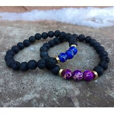 Couples Bracelet Lava Stone & Sea Sediment Jasper Yoga Beaded Elastic Bracelet