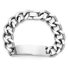 Stainless Steel High Polished Heavy ID Name Bracelet Fold Free Engraving Gift