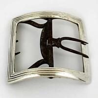 GEORGE III STERLING SILVER & STEEL SHOE BUCKLE Second Half 18th Century 'WS'