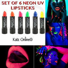 Katz Set Of 6 UV Neon Lipsticks Paints Paint Glow Rave Party Lipstick Halloween
