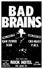 Bad Brains **POSTER** LIVE in New York City NYC CONCERT Punk Hard Core Cro Mags
