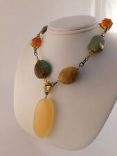 SILPADA AMBER TURQUOISE NECKLACE STERLING SILVER QUARTZ ORIGINAL BOX 65 GRAMS