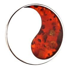 Baltic Amber In Sterling Silver Huge Cherry Modern Brooch Pin Or Pendant