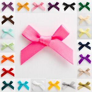 Satin Ribbon Bows Small 3cm Wide Pre-Tied ( 7mm ) Mini Crafts Wedding Oeko-Tex