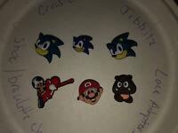 Mario, Sonic,toad, Mushroom  Lot Of 6 Crocs Shoe,Bracelet Charms,Jibbitz