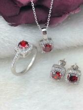 AAA Quality Sterling 925 Silver Jewelry Round Cut Red  Ruby Full Set
