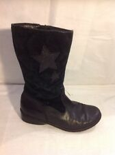 Girls Clarks Black Leather Boots Size 13F